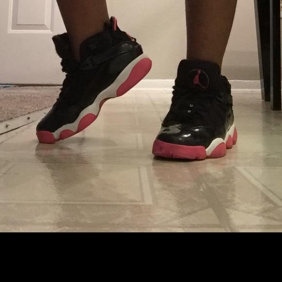 6 rings jordans pink and black